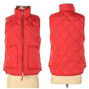 J. Crew Red Quilted Puffer Vest